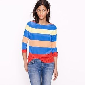 J. Crew Scoopneck Blouse in Colorblock Stripe Silk